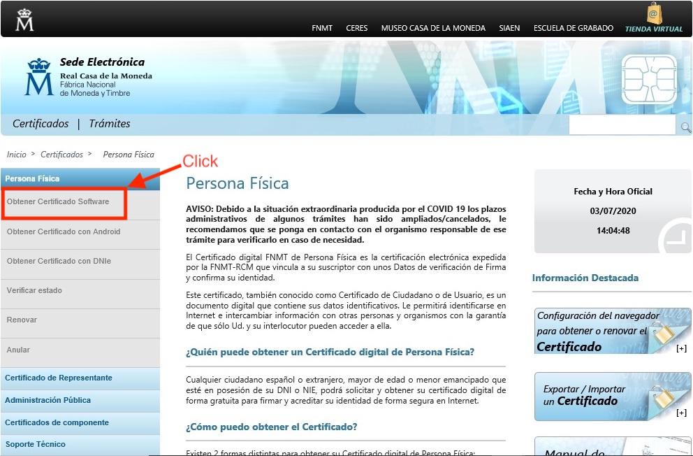 Obtener Certificado de Software