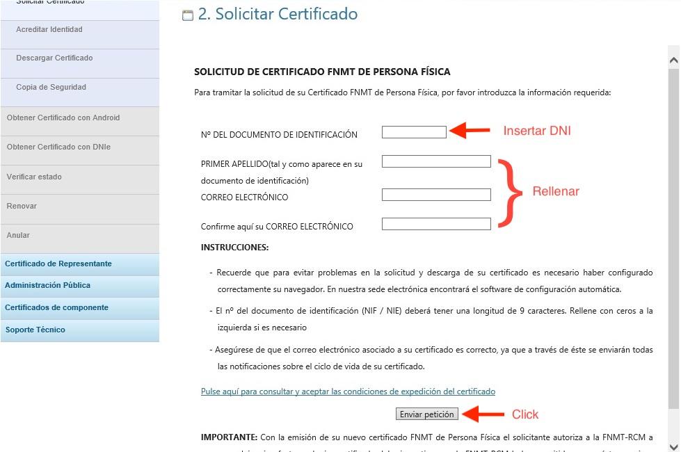Enviar Petición Solicitud de Certificado